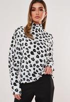 Missguided White Dalmatian Print High Neck Deep Cuff Balloon Sleeve Blouse
