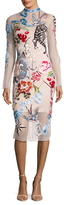 Temperley London Sail Embroidered Back Vent Sheath Dress