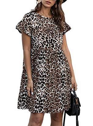 KIRUNDO 2020 Summer Women's Ruffle Mini Dress Short Sleeves Leopard Print Round Neck Loose Pleated Dress (