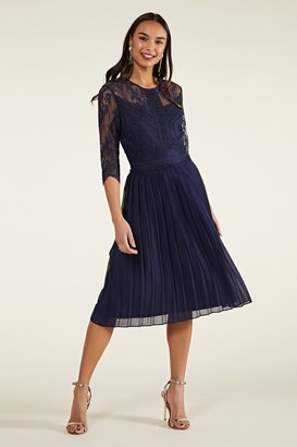 Yumi Pleated Lace Dress