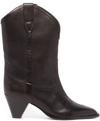 Isabel Marant Luliette Cone-heel Leather Boots - Black