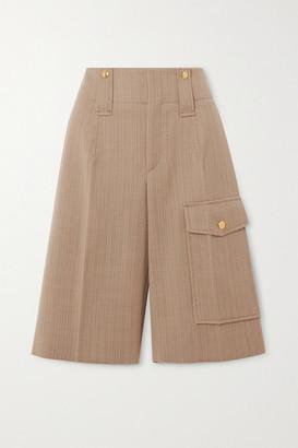 Chloé Pinstriped Wool-twill Shorts - Beige