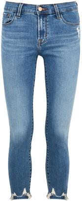 J Brand 835 Blue Distressed Cropped Skinny Jeans
