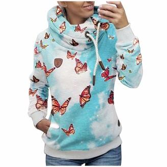 LULUD Women's Hoodies Tie-Dyed Butterfly Print Plain Jumper Long Sleeve High Necked Pocket Hooded Casual Sweater Sweatshirt Jacket Coat Pullover Tops