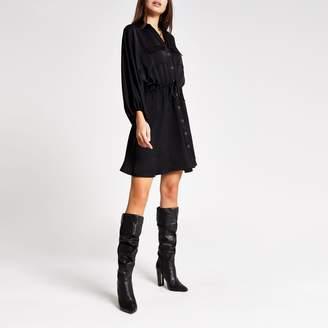 River Island Womens Black long sleeve wasited mini shirt dress