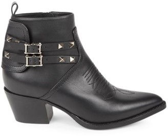 Valentino Rockstud Western Leather Ankle Boots