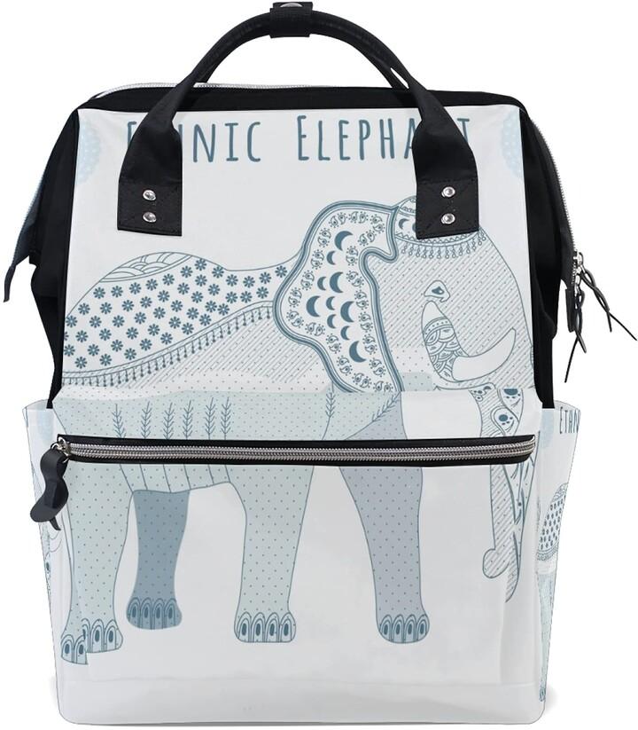 Ldiyeu Ethnic Elephant Art Diaper Bag Backpack Mom Bag Casual Lightweight Large Capacity for Travel Mammy Women Girls