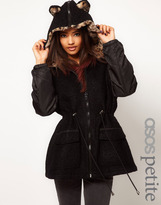 Asos Parka With Leopard Ears