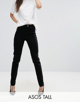 Asos TALL FARLEIGH High Waist Slim Mom Jeans In Clean Black
