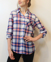 Blvd Red & Royal Blue Plaid Button-Up