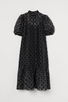H&M Puff-sleeved Organza Dress - Black