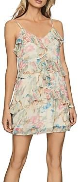 Reiss Ida Ruffled Floral Print Mini Dress