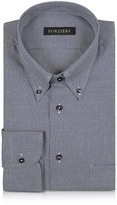Forzieri Blue and White Button-down Woven Cotton Shirt