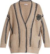 Brunello Cucinelli Embellished striped wool-blend cardigan