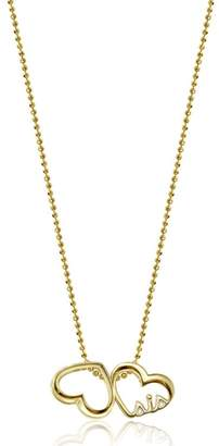 Alex Woo 14K Yellow Gold Double Hearts Pendant Necklace