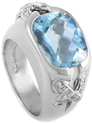 Tiffany & Co. Platinum 0.30 Ct. Tw. Diamond & Aquamarine Ring