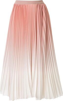 Agnona Pleated Ombre Midi Skirt