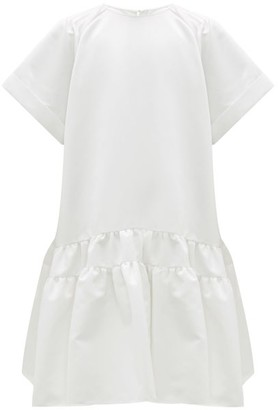 Rochas Tie-back Tiered Duchess-satin Dress - Womens - Ivory