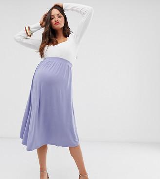 Asos DESIGN Maternity midi skater skirt-Blue
