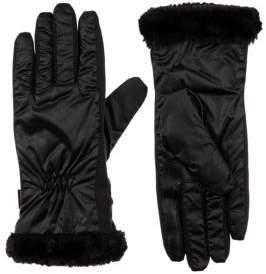 Isotoner Women's SleekHeat Faux Fur-Trim Touchscreen Gloves