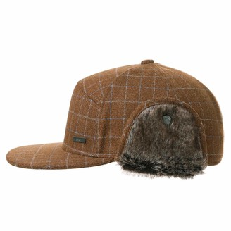 Fancet Winter Flat Brim Snapback Baseball Cap for Men with Foldable Ear Warmers Fur Earflap Trapper Hunting Hat 58-59CM Brown