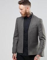 Asos Slim Cropped Blazer In Herringbone