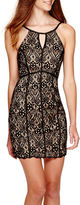 My Michelle Sleeveless Allover Lace Halter Dress - Juniors
