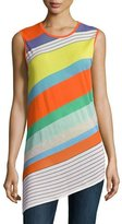 Diane von Furstenberg Sleeveless Asymmetric-Hem Shell Top, Multi