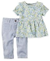 Carter's 2-Piece Floral Top and Hickory Stripe Denim Pant Set in Blue