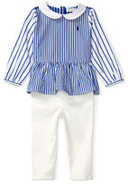 Ralph Lauren Childrenswear Two-Piece Bengal Striped Peplum Top and Legging Set