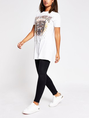 River Island LATiger Print Jersey T-shirt Dress - Cream