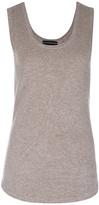 Sofia Cashmere Mesh Insert Vest Top - Dark Natural - L