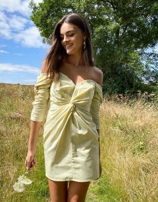 Asos DESIGN structured off shoulder twist detail mini dress with button detail