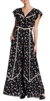 The Kooples Printed and Embroidered Silk Maxi Dress