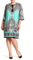 Sandra Darren Tassel Tie Pattern Dress (Plus Size)