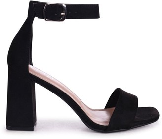 Linzi LATTE - Black Suede Barely There Block Heeled Sandal