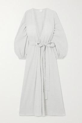 POUR LES FEMMES Crinkled Cotton-gauze Wrap Dress - Gray