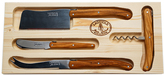 Jean Dubost Le Thiers Laguiole 4-Piece Carved Olive Wood Cheese Knives & Corkscrew Set