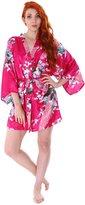 Simplicity Women's Peacock & Blossoms Printed Silk Satin Kimono Robe Bridal Sleepwear