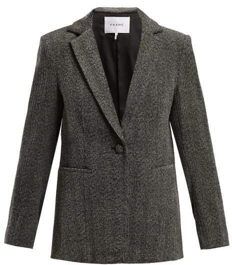 Frame Single Breasted Herringbone Velvet Blazer - Womens - Grey