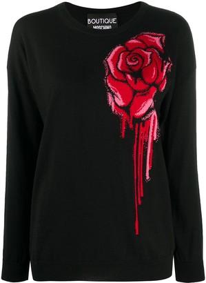 Boutique Moschino Rose-Print Round-Neck Jumper