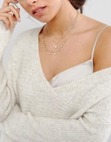 Asos Fine Crystal Drop Multirow Choker Necklace