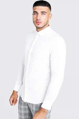 BoohoomanBoohooMAN Mens White Cotton Poplin Shirt In Long Sleeve, White