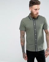 Farah Homerton Pique Short Sleeve Shirt Tipped Slim Fit in Green Marl