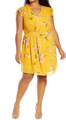Daniel Rainn Floral Flutter Sleeve Dress