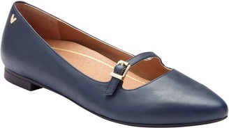 Vionic Pointed-Toe Leather Mary Jane Flats - Gem Delilah