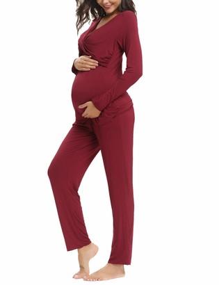 Aibrou Women's Maternity Nursing Pyjamas Set Breastfeeding Sleepwear Cotton Long Sleeve Pjs Nightwear for Home Hospital
