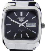 Seiko 5 Stainless Steel & Leather Black Dial Automatic 35mm Mens Watch