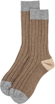 Johnstons of Elgin Colour Block Mens Cashmere Socks Otter