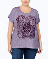 Style&Co. Style & Co Plus Size Cotton Graphic Step-Hem Top, Created for Macy's
